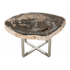 33-inchW Martina Coffee Table Solid Petrified Wood Stainless Steel Base
