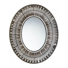 Accent Plus - Faux Rattan Oblong Wall Mirror - Wall Mirrors