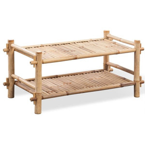 VidaXL 2-Tier Bamboo Shoe Rack