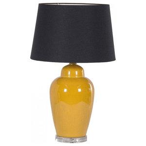 Ochre Lamp With Black Shade