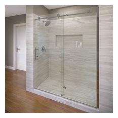 "Basco Shower Enclosures - Vinesse Frameless Sliding Shower Door, Fits 57-59"", Chrome, Aquaglidexp Clear - Shower Doors"