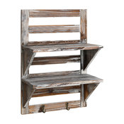 Rustic Wall Mounted 2 Tier Wood Shelf With 2 Hooks, Brown