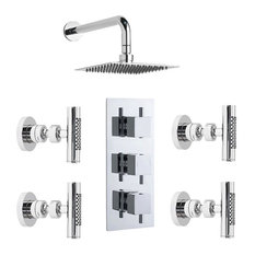 Triple Shower Valve With Fixed Square Head & 4 Body Sprays In Chrome