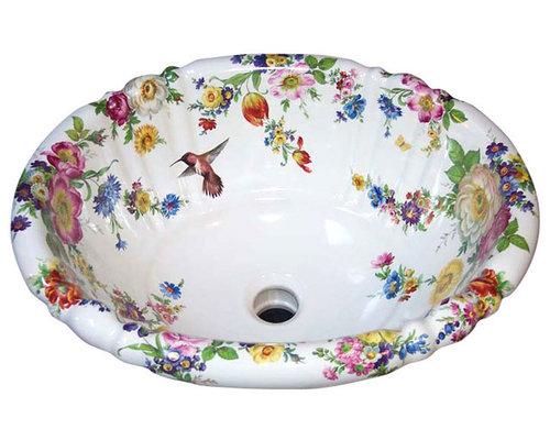 Scented Garden With Hummingbird Painted Sink   Bathroom Sinks
