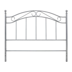 Full-Queen Headboard Scrolled Metal Construction Traditional Design Grey