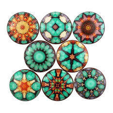 8 Piece Set Cairo Mandala Print Cabinet Knobs
