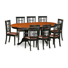 9-Piece Dining Room Set Table With 8 Chairs Black/Cherry