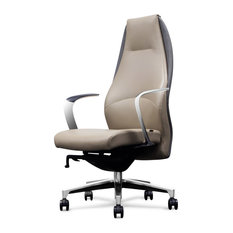 Wrigley Genuine Leather Aluminum Base Chair, Light Gray With Dark Gray Accent
