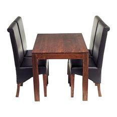 Santiago Dark Mango Wood 5-Piece Dining Set, Leather Chairs