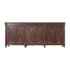96-inch Long Duilio Sideboard Cabinet Dark Marksman Solid Pine Wood Brown Handmade