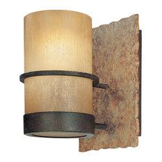 Bamboo 1 Light Sconce / Bath Vanity Light - Bamboo Bronze Natural Slate