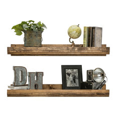 Rustic Luxe Wooden Floating Shelves by Del Hutson Designs, Set of 2, Walnut