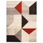"""ECARPETGALLERY - eCarpetGallery Geometric Area Rug, Indoor Carpet Grey/Red 7'10"""" x 10'2"""" - The Harlow Collection sets the tone with bold geometric designs in an array of colors, with something to complement any interior style. Trendy and original patterns characterize this collection, and lend it versatility and the potential to decorate your space in many ways. Made from plush material, this collection ensures underfoot softness and is perfect for a family home."""