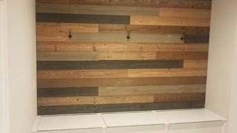 Custom Bench with Wood Panel Accent Wall