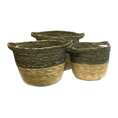 Black and Natural Baskets, 3-Piece Set