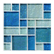 "12""x12"" Blue Blend, Mixed Glass Tile"