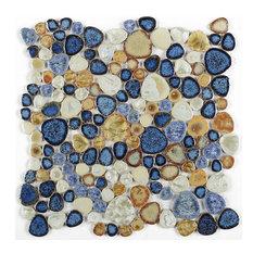 Mosaic Porcelain Tile Mancala Pebble Series Floor Wall Pool Bathroom Shower, Blu