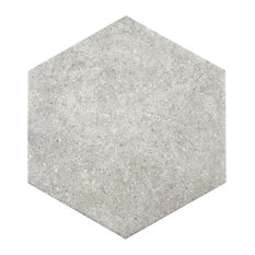 """8.63""""x9.88"""" Trafico Hex Porcelain Floor/Wall Tiles, Set of 25, Gray"""