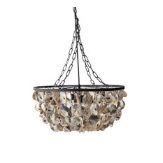 2-Light Round Oyster Shell Chandelier