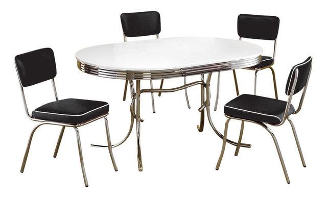 Retro Oval Table Cushion Chair Chrome Dining 5-Piece Set ...