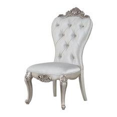 "25""x22""x42"" Cream Fabric Antique White Wood Side Chair, Set-2"