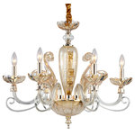 Aves Lighting - Olita, Champagne, 6-Light - The beauty of the olita family is sure to furnish any atmosphere for years to come. Based on a traditional design, this contemporary chandelier will give your home a sparkle.Glass Made Good Quality Ornamentel Arms, Glass and Bobeches.