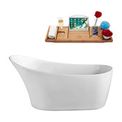 """67"""" Streamline N822-IN-WH Soaking Freestanding Tub and Tray With Internal Drain"""