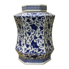 Chinese Blue White Hexagon Porcelain Flowers Accent Jar cs2462