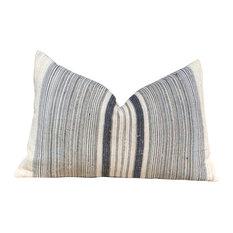 """Striped Hmong Lumbar Pillow Black, Gray Lumbar Vintage Pillow, 14""""x22"""", Witho"""