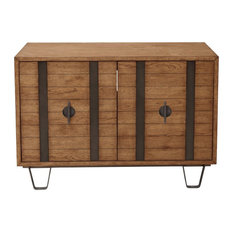 Home Fare Metal Strap Light Oak Two Door Console