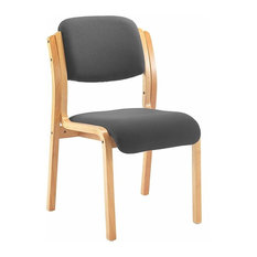 Contemporary Armless Chair, Solid Beech Wooden Frame, Padded Cushions, Charcoal
