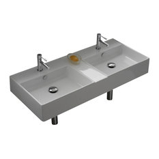 Rectangular White Ceramic Wall Mounted or Vessel Double Sink, Two Hole