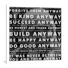 """Mother Teresa Quote"" Wrapped Canvas Art Print, 18x18x0.75"