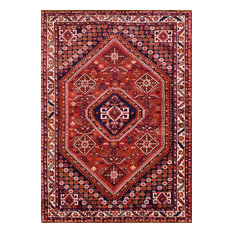 """Consigned, Persian Qashqai Rug, Red/Ivory, 4'2""""x6'"""