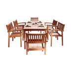 Malibu Eco-Friendly 7-Piece Wood Outdoor Dining Set With Stacking Dining Chairs