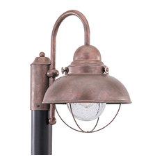 Sea Gull Lighting 1-Light Outdoor Post Lantern, Weathered Copper