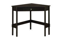 Wood Corner Desk With Drawer, Black