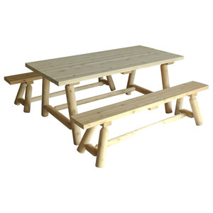 White Cedar Large Dining Table and Benches Set, Set of 3