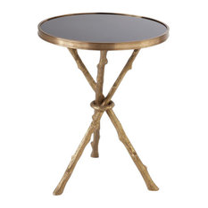 Twig Branch Tripod Accent Table, Brass Gold Black Granite Organic Shape
