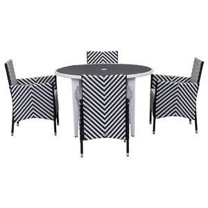 Safavieh Montenegro Outdoor Living Set, 5-Piece, Black and White