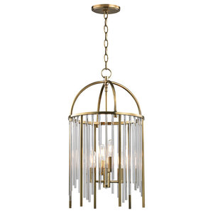 Lewis, 4 Light, Pendant, Aged Brass Finish, Clear and Metal Rods