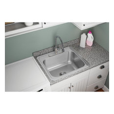 "DCR2522103 Pursuit Stainless Steel 25"" x 22"" Drop-in Laundry Sink, 2 Holes"