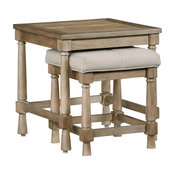 Nesting End Table with Upholstered Bench
