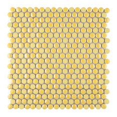 """11.75""""x11.75"""" Andromeda Penny Round Porcelain Mosaic Wall Tile, Yellow"""