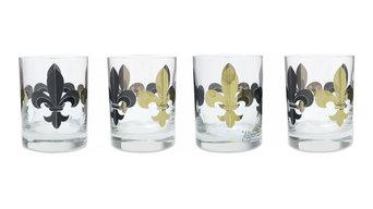 Fleur De Lis Black and Gold Glasses