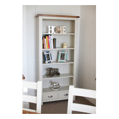 Dove Stone White Painted Oak 2 Drawer Tall Bookcase