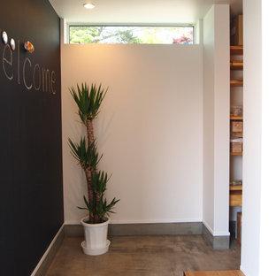 Ejemplo de hall papel pintado, papel pintado y blanco, escandinavo, pequeño, papel pintado, con paredes negras, suelo de cemento, puerta simple, puerta blanca, suelo gris, papel pintado y papel pintado