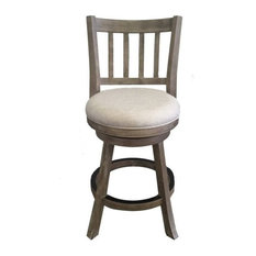 Bowery Hill 24-inch Counter Stool In Driftwood Gray Wire-brush And Ivory