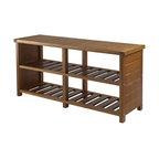 """Winsome Wood 38.39""""x11.81""""x18.27"""" Teak Keystone Shoe Bench"""
