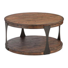 Magnussen Home Furnishings   Montgomery Industrial Reclaimed Wood Rnd Ckt  Table With Casters, Bourbon Finish